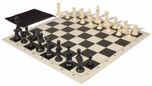 Standard Club Classroom Plastic Chess Set Black & Ivory Pieces with Black Roll-up Chess Board & Bag