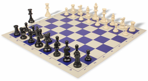 Standard Club Plastic Chess Set Black & Ivory Pieces with Blue Roll-up Chess Board