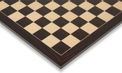 """Macassar Ebony & Maple Classic Chess Board with 2.25"""" Squares Closeup"""