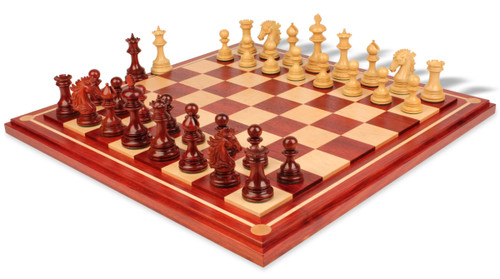 """Wellington Staunton Chess Set in African Padauk & Boxwood with Maple Solid Wood Chess Board - 4.25"""" King"""