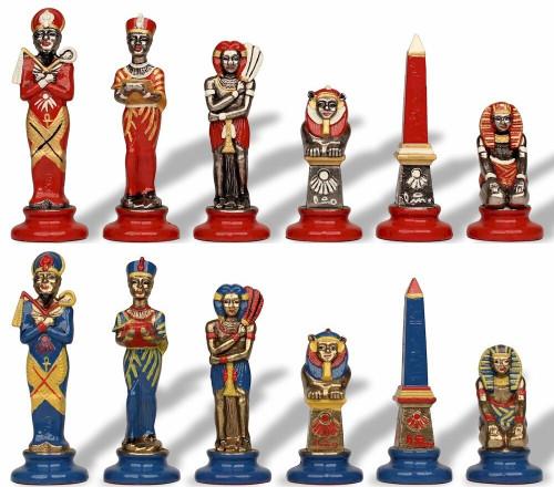 Egyptian Theme Hand Painted Metal Chess Set by Italfama