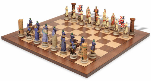 The Crusades Theme Chess Set with Classic Walnut & Maple Chess Board