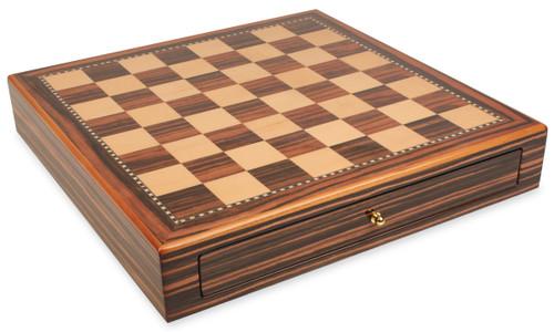 "Macassar Ebony & Maple Chess Case - 2"" Squares"
