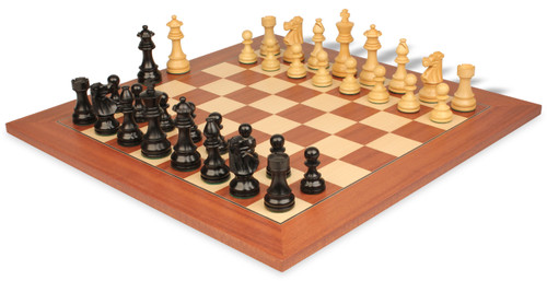 "French Lardy Staunton Chess Set in Ebonized Boxwood & Boxwood with Mahogany & Maple Deluxe Chess Board - 2.75"" King"