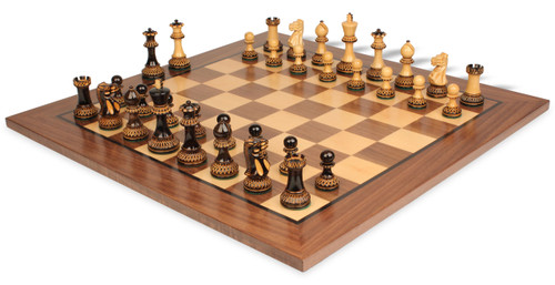 """Parker Staunton Chess Set Burnt Boxwood Pieces with Classic Walnut Chess Board - 3.75"""" King"""