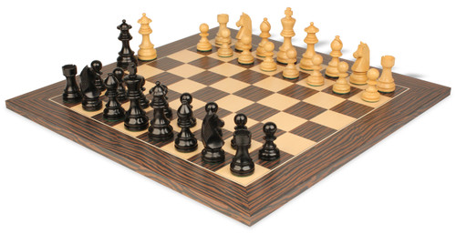"German Knight Staunton Chess Set Ebonized & Boxwood Pieces with Tiger Ebony Deluxe Chess Board- 2.75"" King"