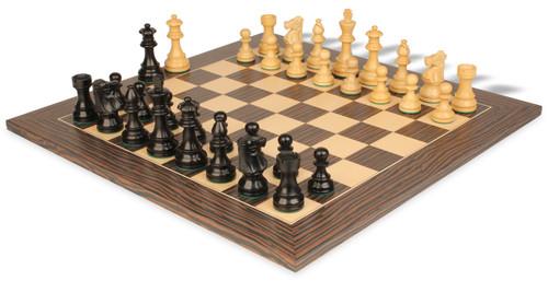 "French Lardy Staunton Chess Set Ebonized & Boxwood Pieces with Tiger Ebony Deluxe Chess Board - 3.25"" King"