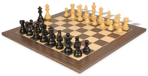 "French Lardy Staunton Chess Set Ebonized & Boxwood Pieces with Tiger Ebony Deluxe Chess Board - 2.75"" King"