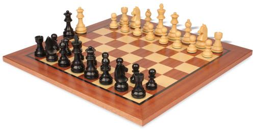 "German Knight Staunton Chess Set Ebonized and Boxwood Pieces 2.75"" King with Mahogany Chess Board"