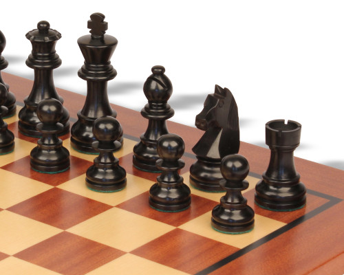 "German Knight Staunton Chess Set Ebonized & Boxwood Pieces with Classic Mahogany Chess Board - 2.75"" King"