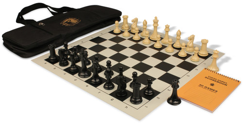 Professional Deluxe Bag Chess Set Package Black & Camel Pieces - Black