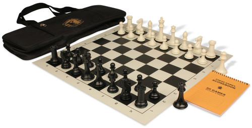 Professional Deluxe Bag Chess Set Package Black & Ivory Pieces - Black