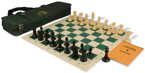 Professional Deluxe Bag Chess Set Package Black & Camel Pieces - Green