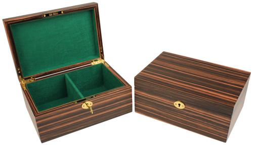 Macassar Ebony Chess Piece Box With Green Baize Lining- Medium