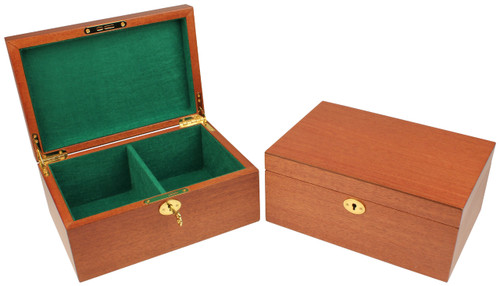 Mahogany Chess Piece Box With Green Baize Lining- Large