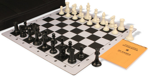 Professional Jumbo-Floppy Chess Set Package Black & Ivory Pieces - Black