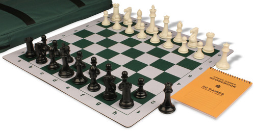 Professional Jumbo-Floppy Chess Set Package Black & Ivory Pieces - Green