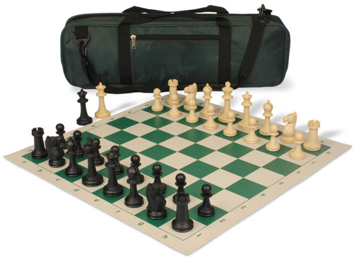 Park Game Carry-All Plastic Chess Set Black & Sandal Pieces with Green Roll-up Chess Board & Bag