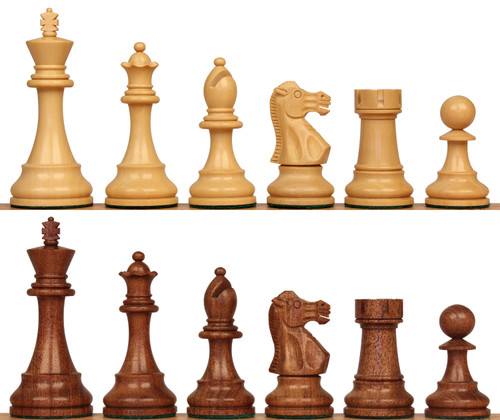"""British Staunton Chess Set with Acacia & Boxwood Pieces - 3.5"""" King"""
