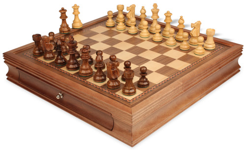 "French Lardy Staunton Chess Set Acacia and Boxwood Pieces with Walnut Chess Case 3.25"" King - View 1"