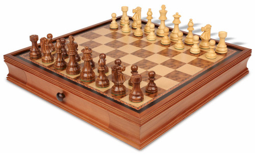 "French Lardy Staunton Chess Set Acacia and Boxwood Pieces with Walnut Chess Case 3.75"" King - View 1"