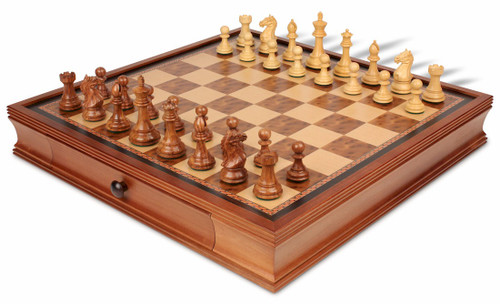 "Fierce Knight Staunton Chess Set Acacia & Boxwood Pieces with Walnut Chess Case - 3.5"" King"