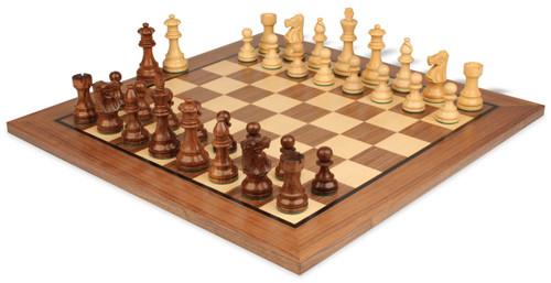 "French Lardy Staunton Chess Set Acacia & Boxwood Pieces with Classic Walnut Chess Board - 3.75"" King"