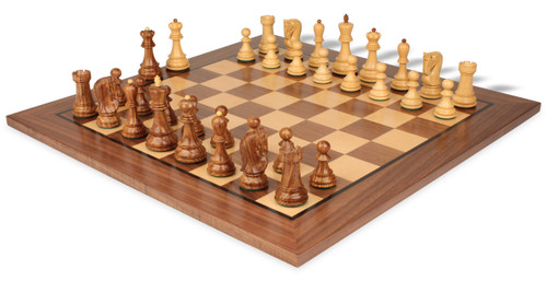 "Yugoslavia Staunton Chess Set in Acacia Wood & Boxwood with Walnut Chess Board - 3.25"" King"