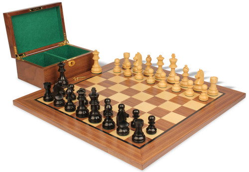 """German Knight Staunton Chess Set Ebonized and Natural Boxwood Pieces with Walnut Chess Board and Box 2.75"""" King"""