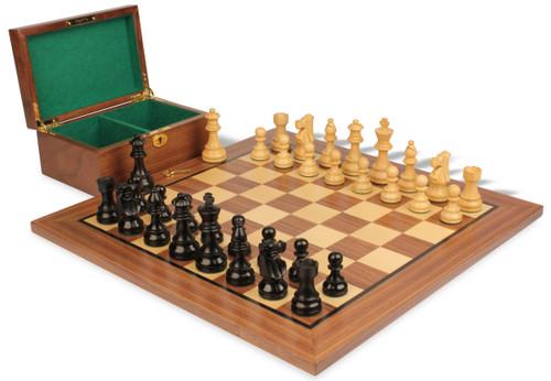 "French Lardy Staunton Chess Set Ebonized and Boxwood Pieces with Walnut Chess Board and Box 3.75"" King"