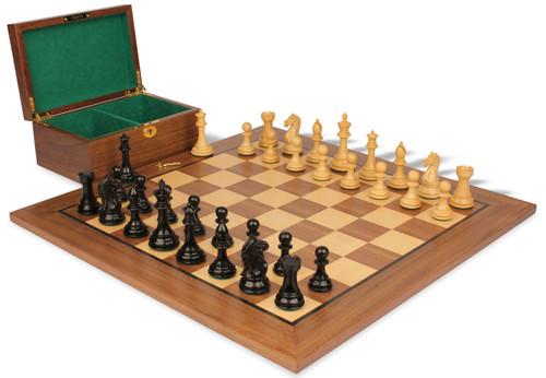 "Fierce Knight Staunton Chess Set Ebonized and Boxwood Pieces with Walnut Chess Board and Box 3"" King"