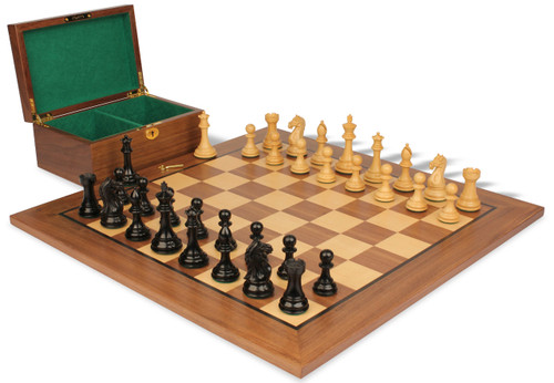 "Fierce Knight Staunton Chess Set Ebonized and Boxwood Pieces with Walnut Chess Board and Box 3.5"" King"