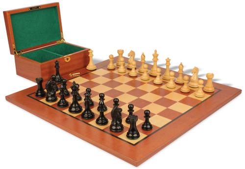 "Fierce Knight Staunton Chess Set Ebonized and Boxwood Pieces with Mahogany Chess Board and Box 3.5"" King"