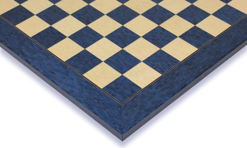 """Blue Ash Burl & Erable High Gloss Deluxe Chess Board - 2.375"""" Squares"""