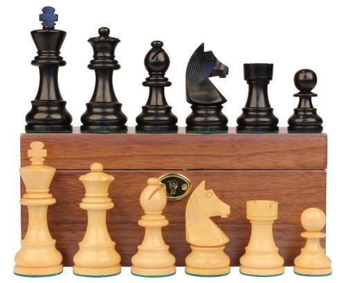 "German Staunton Chess Set Ebonized and Boxwood Pieces with Walnut Chess Box 2.75"" King"