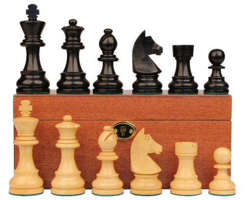 "German Staunton Chess Set Ebonized and Boxwood Pieces with Mahogany Chess Box 3.25"" King"