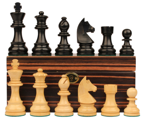 "German Staunton Chess Set Ebonized and Boxwood Pieces with Macassar Ebony Chess Box 2.75"" King"