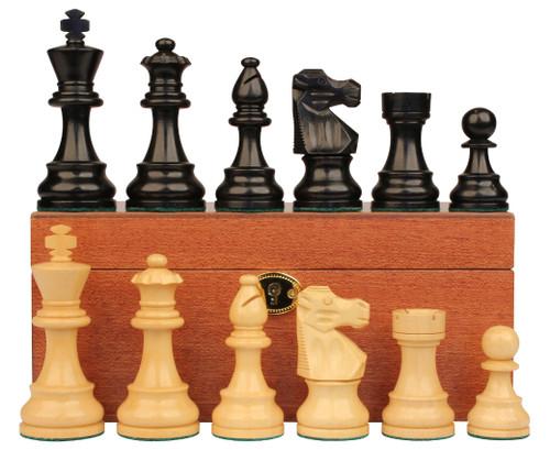 "French Lardy Staunton Chess Set Ebonized and Boxwood Pieces with Mahogany Chess Box 3.75"" King"