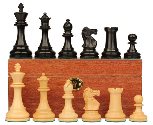 "British Staunton Chess Set Ebonized & Boxwood Pieces with Mahogany Chess Box - 3.5"" King"