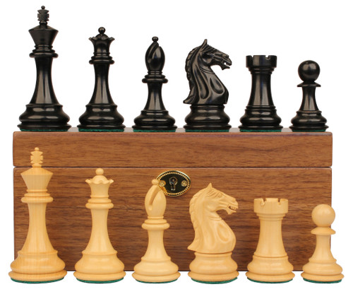 "Fierce Knight Staunton Chess Set Ebonized & Boxwood Pieces with Walnut Chess Box - 3.5"" King"