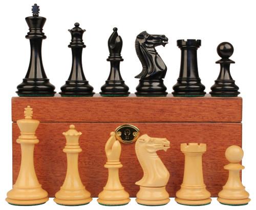 "New Exclusive Staunton Chess Set Ebonized & Boxwood Pieces with Mahogany Chess Box - 3"" King"