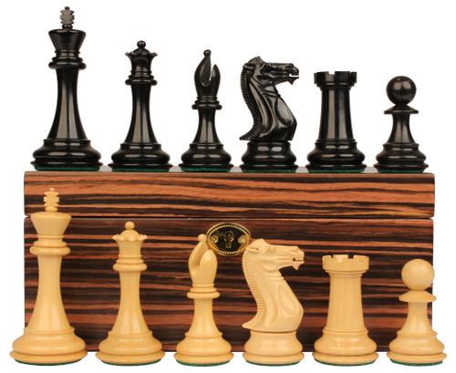 "New Exclusive Staunton Chess Set Ebonized & Boxwood Pieces with Macassar Ebony Chess Box - 3.5"" King"