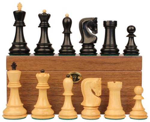 "Yugoslavia Staunton Chess Set Ebonized & Boxwood Pieces with Walnut Chess Box - 3.875"" King"