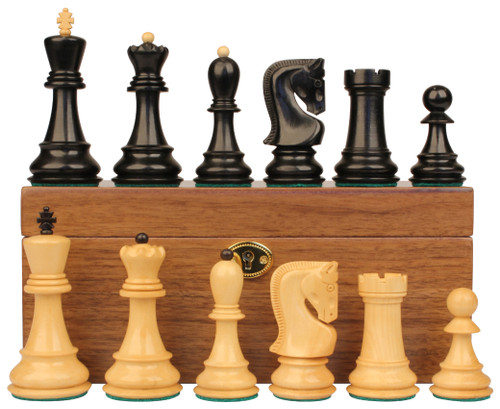 "Yugoslavia Staunton Chess Set Ebonized & Boxwood Pieces with Walnut Chess Box - 3.875"" King"
