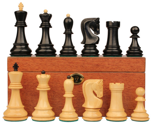 "Yugoslavia Staunton Chess Set Ebonized & Boxwood Pieces with Mahogany Chess Box - 3.875"" King"