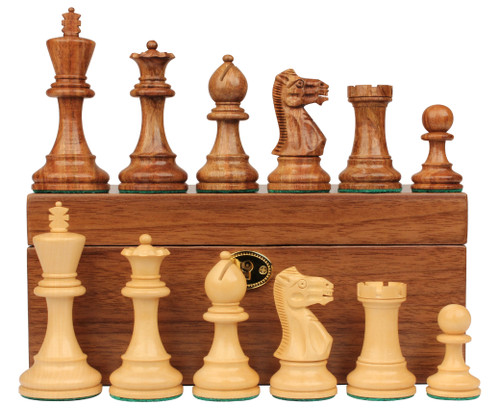"""Parker Staunton Chess Set Golden Rosewood & Boxwood Pieces with Walnut Chess Box - 3.75"""" King"""