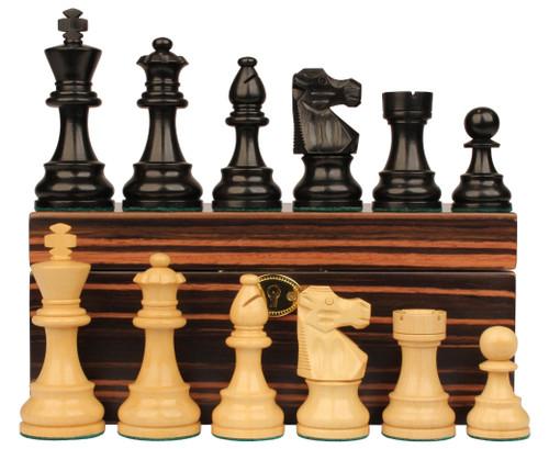"French Lardy Staunton Chess Set Ebonized and Boxwood Pieces with Macassar Ebony Chess Box 3.25"" King"
