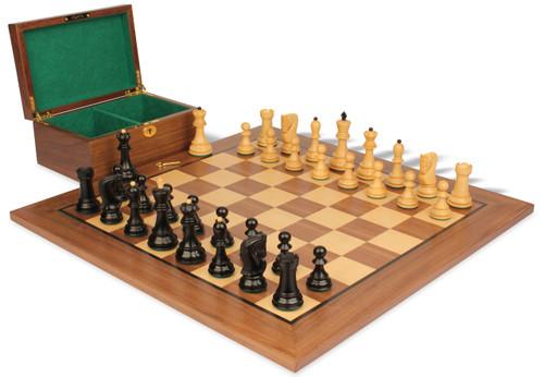 "Yugoslavia Staunton Chess Set Ebonized & Boxwood Pieces with Walnut Board & Box - 3.875"" King"