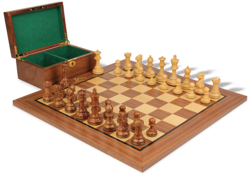 "Parker Staunton Chess Set in Golden Rosewood & Boxwood with Walnut Board & Box - 3.75"" King"
