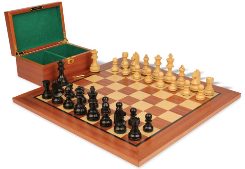 "German Knight Staunton Chess Set Ebonized and Natural Boxwood Pieces with Mahogany Chess Board and Box 2.75"" King"